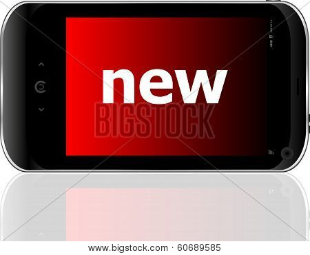 Smart Phone With New Word, Business Concept