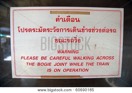 Warning Information Plate At Thailand Railway Station