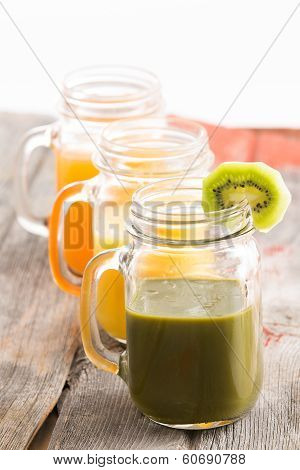 Glass Jar Of Healthy Kiwifruit Smoothie