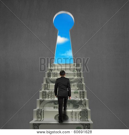 To Top Of Money Stairs With Key Hole And Sky