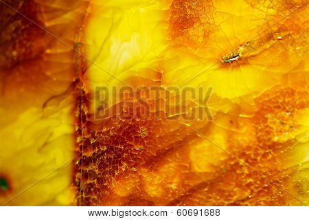 Closeup Of Golden Amber As Background Or Texture. Resin Gem.