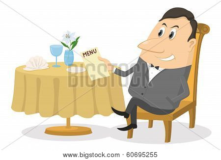 Restaurant, man near table, isolated