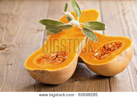 Butternut squash with sage leaves