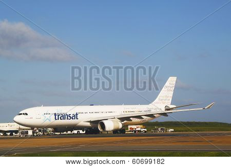 Air Transat Airlines Airbus 330 plane at Punta Cana Airport