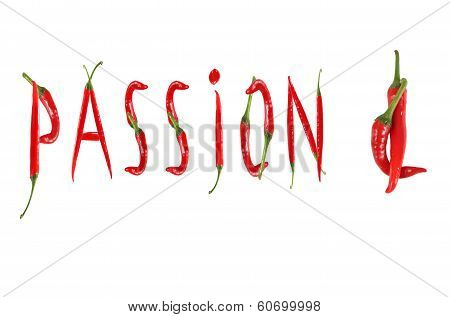 Picture Of The Word Passion Written With Red Chili Peppers
