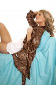 Woman Animal Print Robe Lay Blue Sheet Serious Side