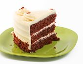 foto of red velvet cake  - Large Slice of Red Velvet Cake over a white background - JPG