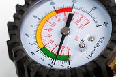 picture of air pressure gauge  - A compressor pressure gauge on a white background