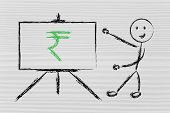 pic of indian currency  - blackboard with teacher or CEO with rupee indian currency symbol - JPG