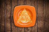 Hand drawn food pyramid on colorful dish plate and grungy background