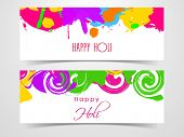 Beautiful header or banner set design with beautiful colours splash on white background.