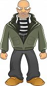 stock photo of hooligan  - Cartoon vector angry bald and strong hooligan with scarf isolated - JPG