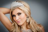 stock photo of tiara  - Beautiful girl wearing tiara and sparkling jewlery - JPG