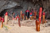stock photo of phallus  - Wooden phalluses in Princess cave  - JPG