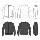 Front, back and side views of blank bomber jacket with zipper