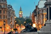 stock photo of london night  - Street view of Trafalgar Square at night in London - JPG