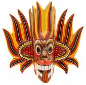 foto of sinhala  - Fire devil mask isolated on the white - JPG