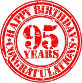 Happy Birthday 95 Years Grunge Rubber Stamp, Vector Illustration
