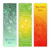 stock photo of batik  - Unique abstract  hand drawn ethnic pattern card set with doodles - JPG