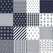 image of rudder  - Seamless pattern with nautical elements - JPG