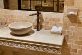 picture of washtub  - Close up of a marble bathroom sink - JPG