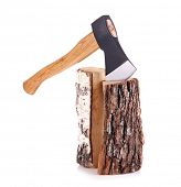 stock photo of ax  - Ax and firewood - JPG