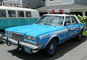 Vintage NYPD Plymouth police car on display