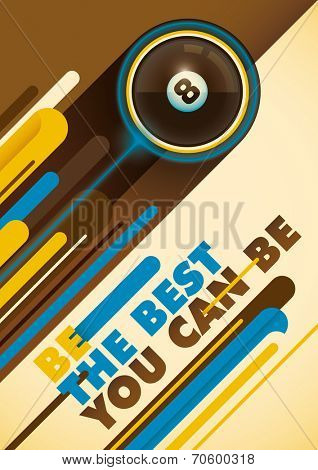 Billiard poster with abstract design. Vector illustration.