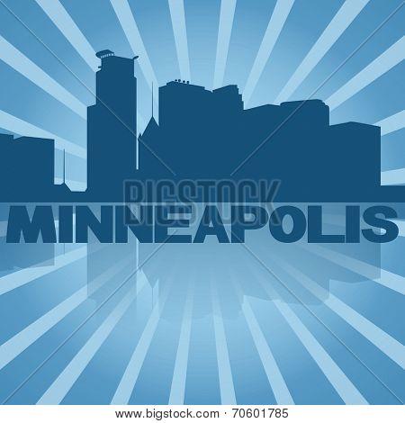 Minneapolis skyline reflected with blue sunburst illustration