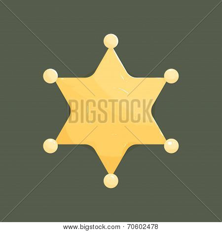 Blank golden sheriff star isolated on dark background.