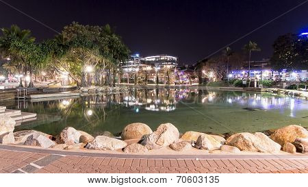 Southbank Parklands swimming pool by night