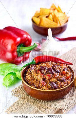 Mexican chili con carne selective focus