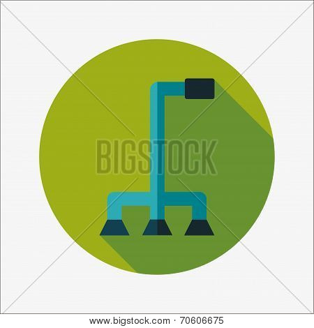 Walking Stick Flat Icon With Long Shadow