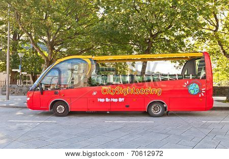 Red City Sightseeing Bus In Stavanger, Norway