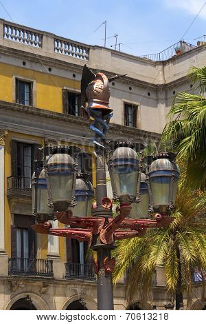 Lamp Post Of Antoni Gaudi - Barcelona Spain