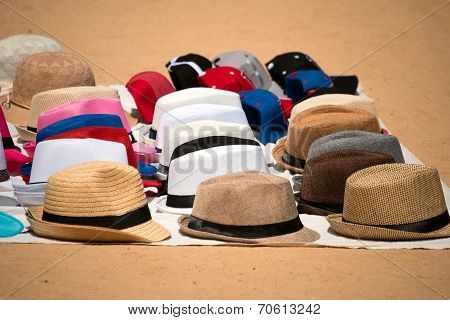 Market Of Hats On Ground
