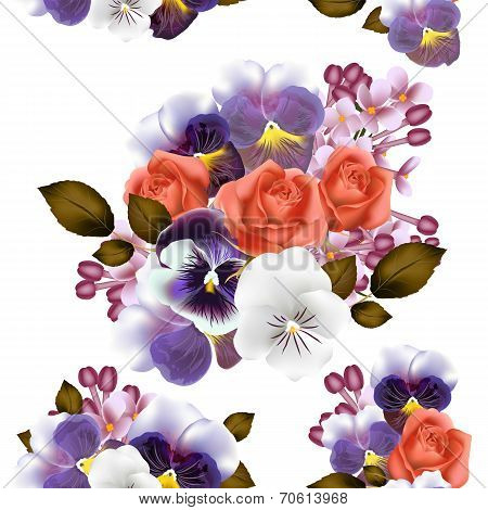 Seamless Pattern With Roses And Violets Flowers