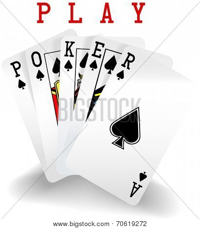 Royal straight flush playing cards hand in spades word Poker