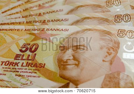 Fan of Fifty Lira Banknotes