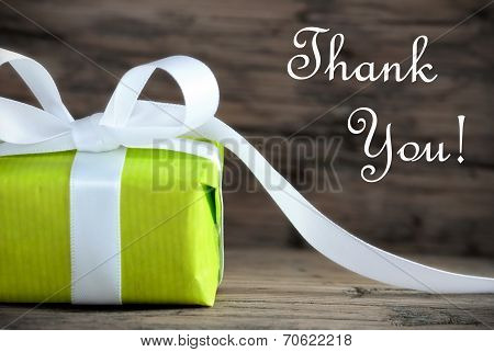 Green Present With Thank You Text