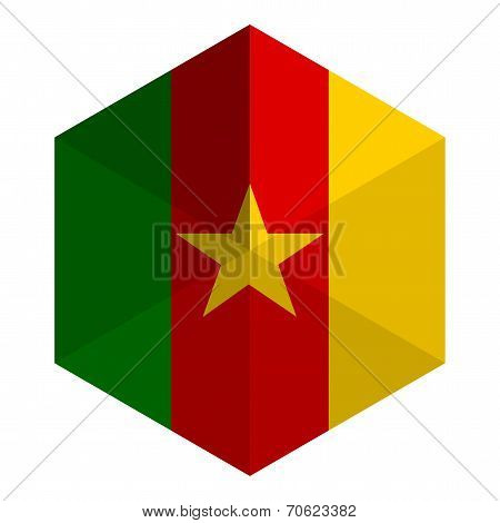 Cameroon Flag Hexagon Flat Icon Button