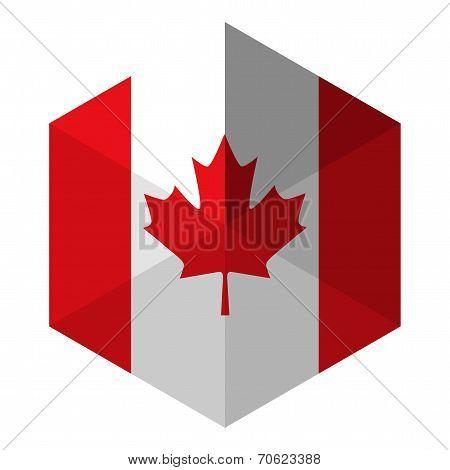 Canada Flag Hexagon Flat Icon Button
