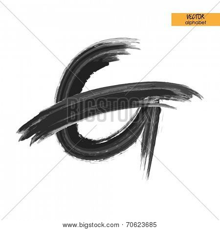 art sketched stylized ink doodle alphabet in vector, black grungy font, uppercase letter G