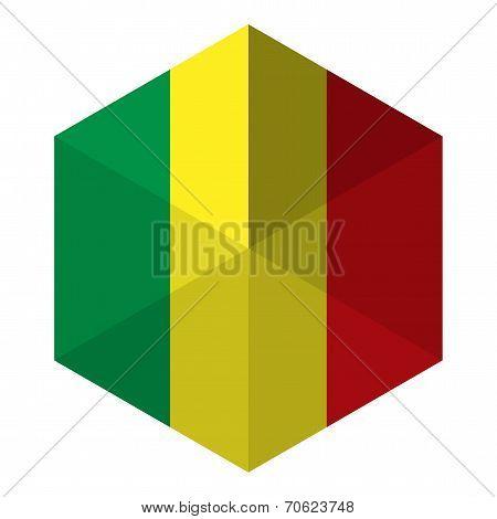 Mali Flag Hexagon Flat Icon Button