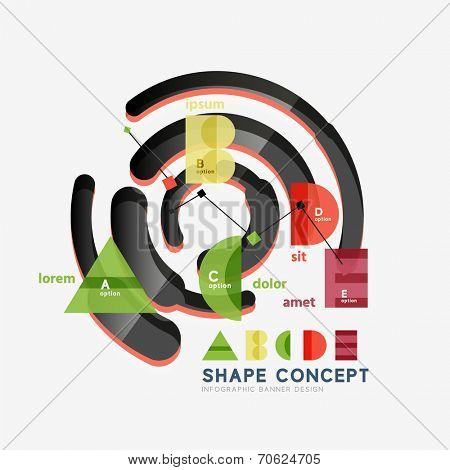 Abstract circle geometric infographic diagram, banner option layout. Alphabet, letters A B C D E figure design