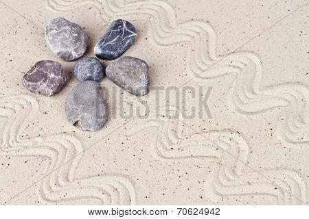 Zen Garden With Sand Stones