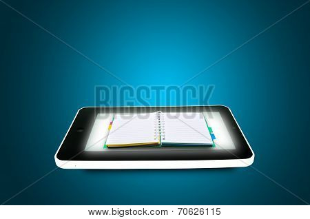 Black Tablet Pc With Book Or Diary On Blue Background.