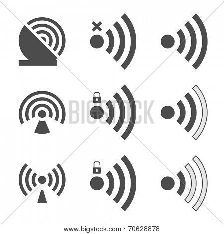 Wifi set icon for radio waves isolated on white background. Vector illustration.