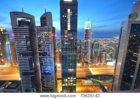 The tall towers of Sheikh Zayed Road showcase much of Dubai