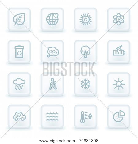 Green ecology web icon set 2, white square buttons